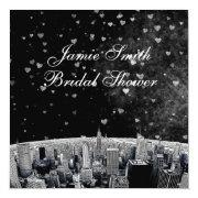 Etched Nyc Skyline #2 Blk Wht Heart Bridal Shower