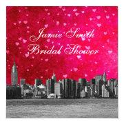 Etched NYC Skyline Hot Pink Red Hrt Bridal Shower Invite