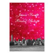 Etched Nyc Skyline Hot Pnk Red Hrt Bridal Shower V