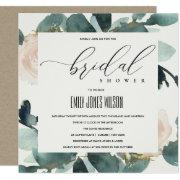 Eucalyptus Blush Rose Soft Kraft Bridal Shower Invitation