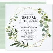 Eucalyptus Geometric Bridal Shower Invitations