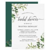 Eucalyptus Green Leaves Nature Look Bridal Shower Invitation