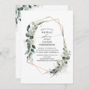 Eucalyptus Greenery Geometric Modern Bridal Shower Invitation