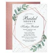Eucalyptus Rose Gold Geometric Bridal Shower Invitation