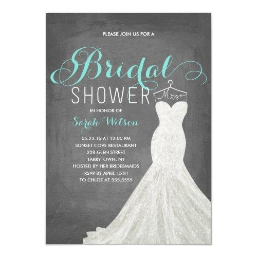 Extravagant Dress Chalkboard Teal | Bridal Shower Invitations