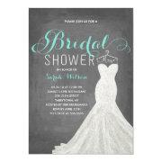 Extravagant Dress Chalkboard Teal | Bridal Shower Invitation