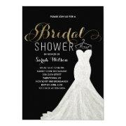 Extravagant Dress Gold Custom Color| Bridal Shower Invitations