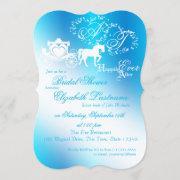 Fairytale Carriage Bridal Shower Peacock Blue Invitation