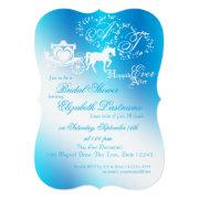 Fairytale Carriage Bridal Shower Peacock Blue Invitation