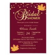 Fall Autumn Burgundy Marsala Bridal Shower Invitations