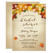 Fall Bridal Shower Burlap String Lights Leaves Invitation