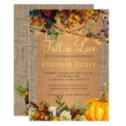 Fall In Love Autumn Floral Burlap Bridal Shower Invitation