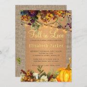 Fall In Love Autumn Floral Burlap Bridal Shower Invitation