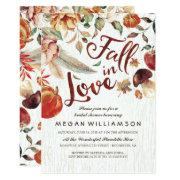 Fall In Love Autumn Harvest Pumpkin Bridal Shower Invitations