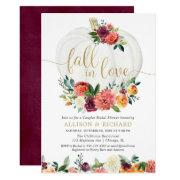 Fall In Love Burgundy Gold Couples Bridal Shower Invitation
