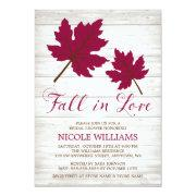 Fall In Love Burgundy Leaves Bridal Shower