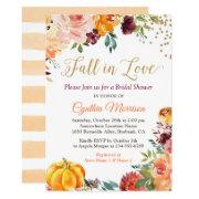 Fall In Love Floral Pumpkin Autumn Bridal Shower Invitations