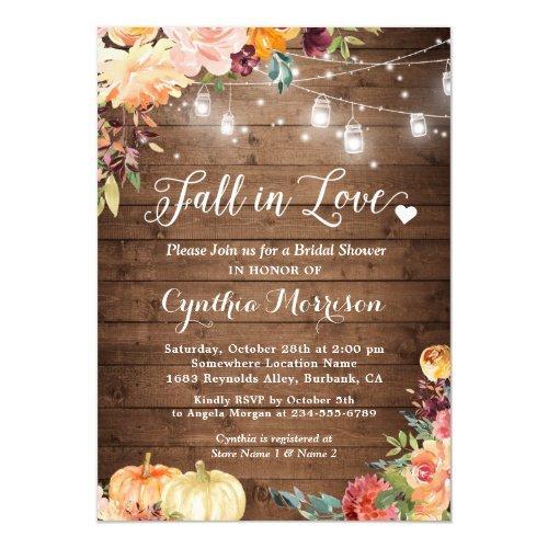 Fall In Love Floral String Lights Bridal Shower Invitation