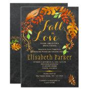 Fall In Love Gold Leaves Chalkboard Bridal Shower