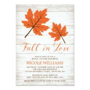 Fall In Love Orange Leaves Bridal Shower