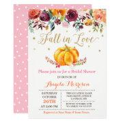 Fall In Love Pumpkin Gold Pink Bridal Shower