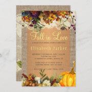 Fall In Love Rustic Floral Burlap Bridal Shower Invitation
