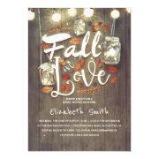 Fall In Love Rustic Mason Jars Bridal Shower Invitation