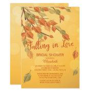 Fall Leaves Falling In Love Bridal Shower Invite