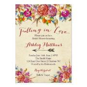 Falling In Love Floral Bridal Shower Invitation,