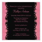 Fancy Black & Pink Trim Bridal Shower Invitation