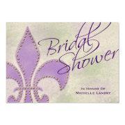 Fancy Script Purple Fleur De Lis Bridal Shower