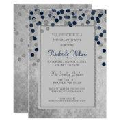 Faux Glitter Silver Navy Confetti Bridal Shower