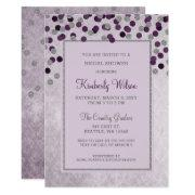 Faux Glitter Silver Purple Confetti Bridal Shower
