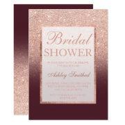 Faux Rose Gold Glitter Burgundy Chic Bridal Shower