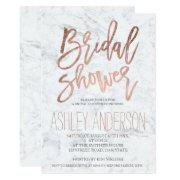 Faux Rose Gold Typography Marble Bridal Shower