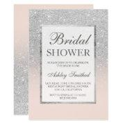 Faux Silver Glitter Blush Elegant Bridal Shower Invitations