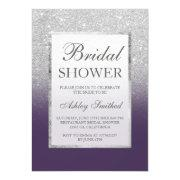 Faux Silver Glitter Purple Elegant Bridal Shower Invitations