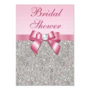 Faux Silver Jewels Pink Bow Diamonds Bridal Shower