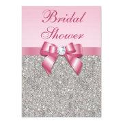 Faux Silver Jewels Pink Bow Diamonds Bridal Shower Custom Invitation