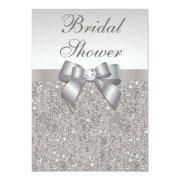 Faux Silver Sequins And Bow Bridal Shower