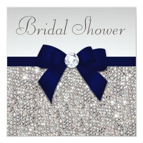 Faux Silver Sequins Navy Blue Bow Bridal Shower Invitations