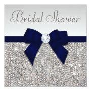 Faux Silver Sequins Navy Blue Bow Bridal Shower