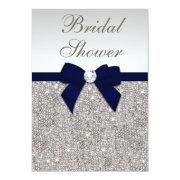 Faux Silver Sequins Navy Bow Bridal Shower Invitation