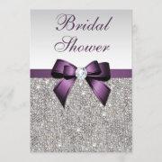 Faux Silver Sequins Purple Bow Bridal Shower Invitation