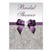 Faux Silver Sequins Purple Bow Bridal Shower