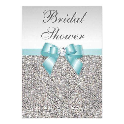 Faux Silver Sequins Teal Blue Bridal Shower Invitations