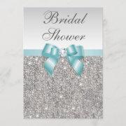 Faux Silver Sequins Teal Blue Bridal Shower Invitation