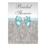 Faux Silver Sequins Teal Blue Bridal Shower Invitation