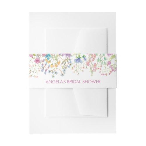 Field Floral Bridal Shower Invitation Belly Band