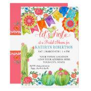 Fiesta Margarita Floral Cactus Art Bridal Shower Invitation